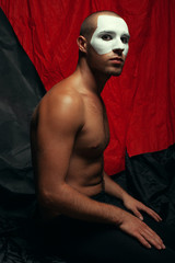 Backstage concept. Arty portrait of circus performer