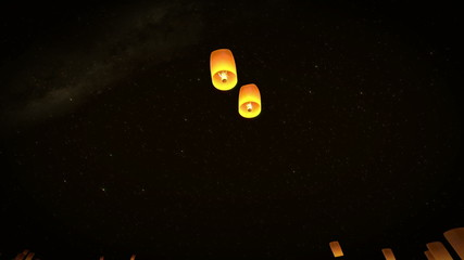 beautiful 3d animation lead couple Lanterns flying in night sky