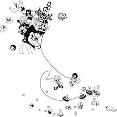 七福神や獅子舞、門松付きの超特大の凧。