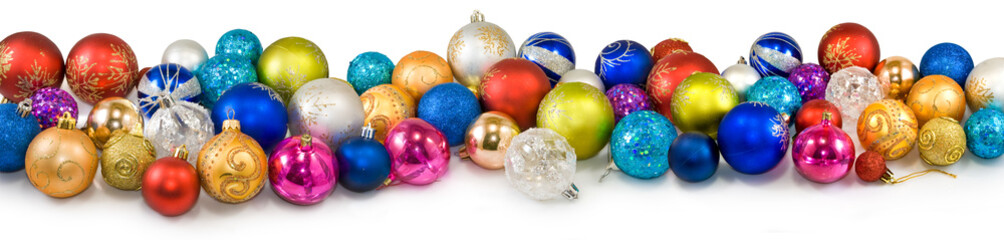 Isolated image of many Christmas tree decorations