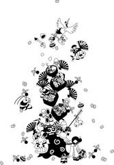 女の子が笛を吹くと、獅子舞や鶴と亀、七福神が現れた。