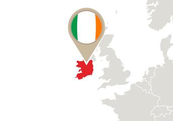 Ireland on Europe map