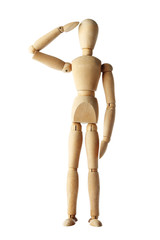 mannequin old wooden dummy similar respect of police isolated