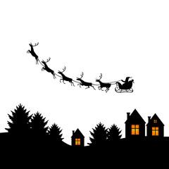 Christmas congratulatory card with Santa on sleigh