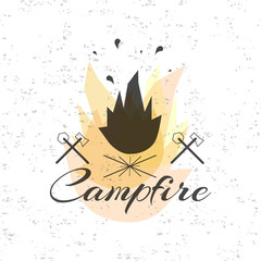 Print on t-shirt design theme of the campfire