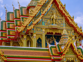 Large size temple with multi level roofs in Thailand.