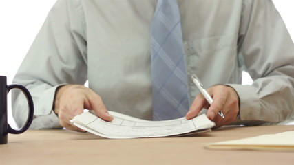 Office Worker Checks Papers