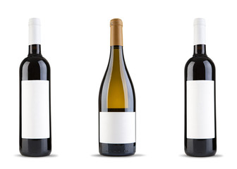 Three wine bottle on white background