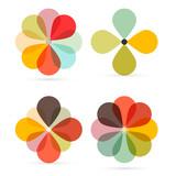 Fototapety Abstract Vector Retro Flowers Set Illustration