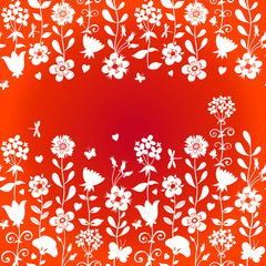 Seamless red pattern with flowers and butterflies.