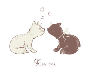 Valentine card -- Funny kissing cats