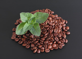 Coffee beans with fresh mint