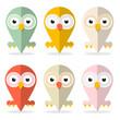 Vector Owls Set Illustration Isolated on White Background