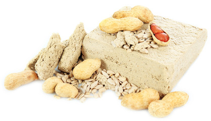 Sunflower halva with peanuts isolated on  white background