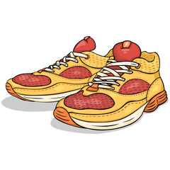 Vector Cartoon Red and Yellow Running Shoes