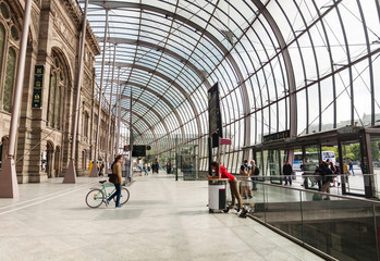 Panoramic view on glass roof of Strasbourg's railway station bui