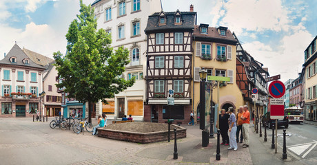 Panoramic view on old street with half timbered houses in Colmar