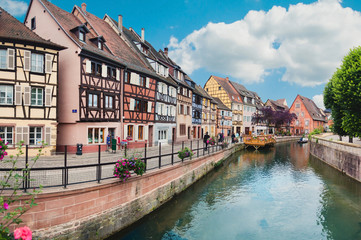 Panoramic view on canal in Petite Venice neighborhood of Colmar,