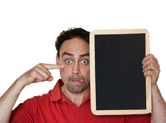 interested man with empty chalkboard