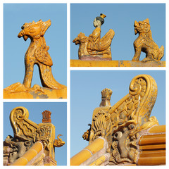 collage made of images with imperial roof decorations, Beijing
