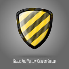 Blank yellow and black caution realistic glossy shield with