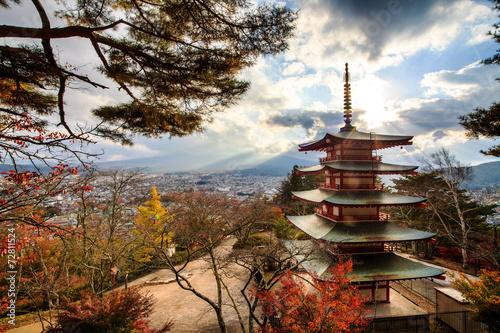 Leinwanddruck Bild Mt. Fuji with fall colors in Japan.