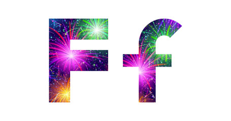 Set of letters, firework, F