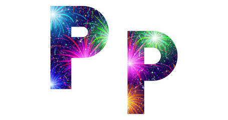 Set of letters, firework, P