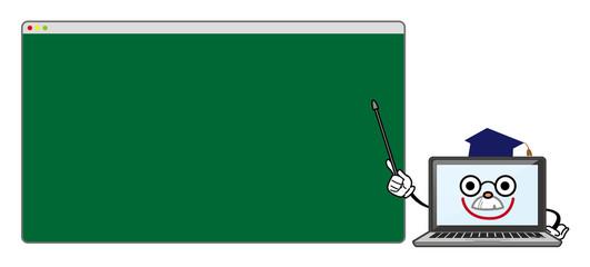ノートパソコン キャラクター博士 黒板