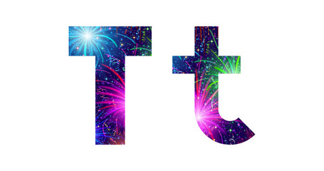 Set of letters, firework, T