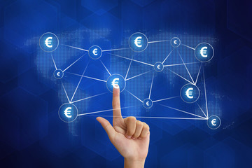hand pushing euro currency networking