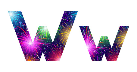 Set of letters, firework, W