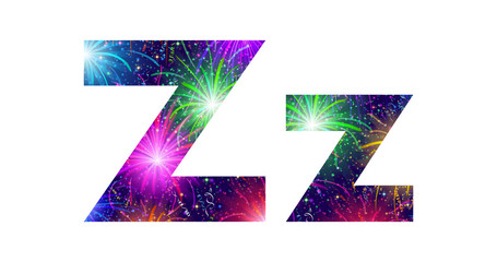 Set of letters, firework, Z