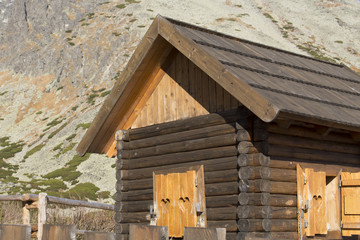 wooden house on mountains