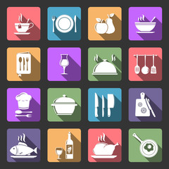Kitchen flat icons with long shadow