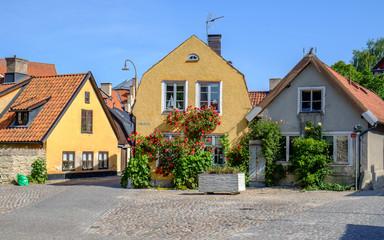 Residential buildings in medieval Hanse town Visby in Sweden.