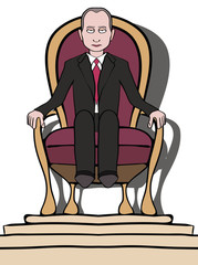 Man on throne - political dictatorship caricature