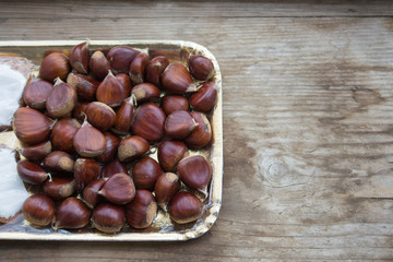 chestnuts of autumn background