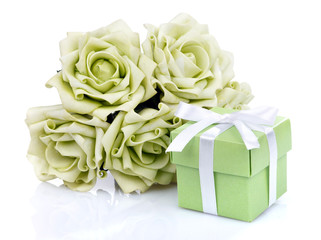 Green flowers and gift box