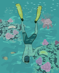 boy diving at coral reef - realistic illustration