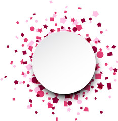 Round paper card over pink confetti.