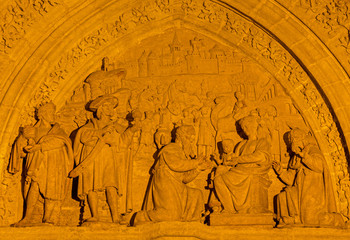 Seville - Three Magi scene on the side portal of Cathedral