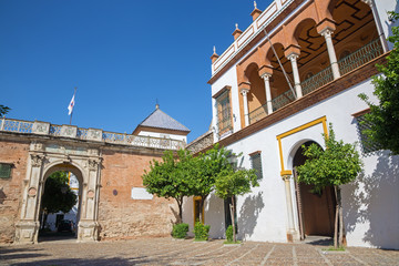 Seville - facade and main portal of Casa de Pilatos.