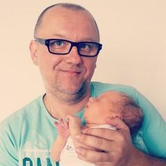 Dad love newborn baby father's day hug