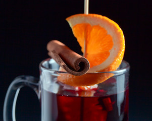 mulled wine  on a black background