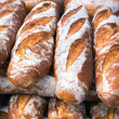 French breads in a bakery market - 72816368