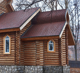 Details of wooden Orthodox church .