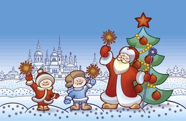 Рождество и Новый Год Дед Мороз с детьми зажгли бенгальские огни
