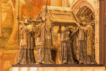 Seville - The tomb of Christopher Columbus in the cathedral