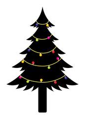 Colorful Lights on Black Christmas Tree